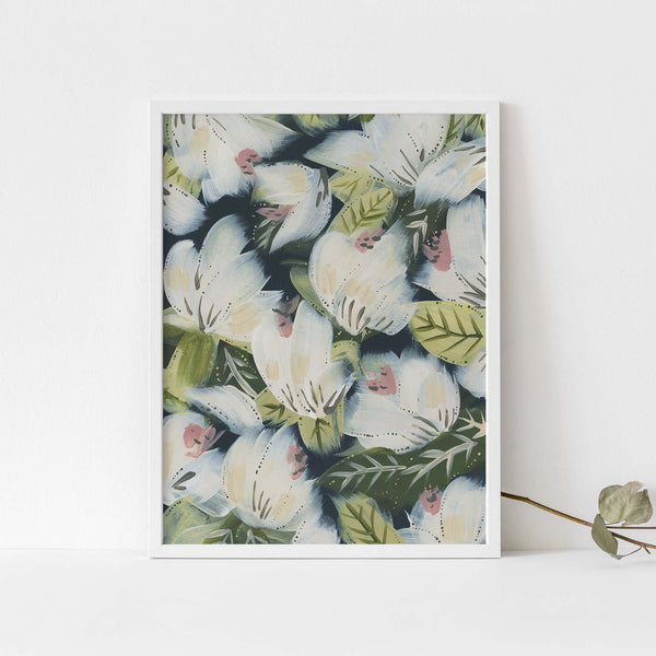 Wildflower Blue and White Modern Boho Floral Painting Wall Art Print or Canvas - Jetty Home