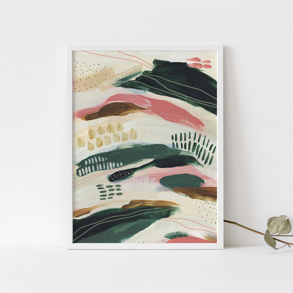 Contemporary Abstract Painting Bold Green and Beige Wall Art Print or Canvas - Jetty Home