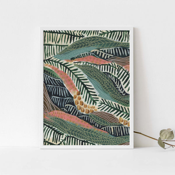 Modern Tropical Jungle Abstract Botanical Pattern Wall Art Print or Canvas - Jetty Home