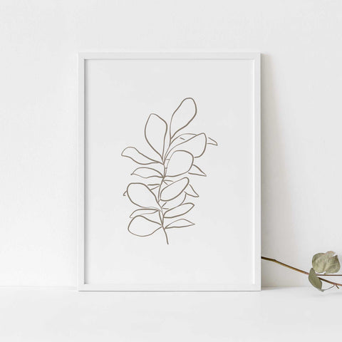 Modern Botanical Eucalyptus Silver Dollar Illustration Wall Art Print or Canvas - Jetty Home