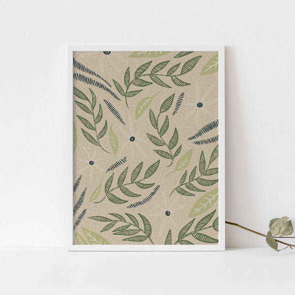 Beige, Blue and Green Modern Floral Wildflower Illustration Wall Art Print or Canvas - Jetty Home