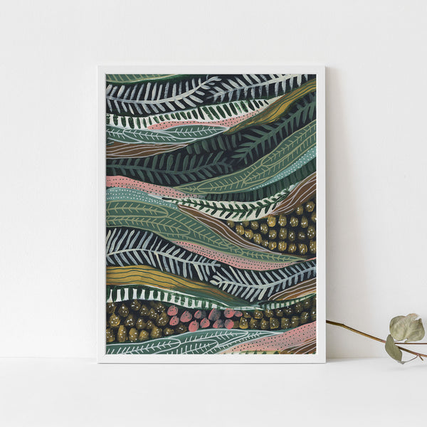 Jungle Scene Modern Tropical Botanicals Painting Wall Art Print or Canvas - Jetty Home