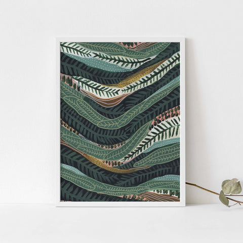 Jungle Leaves Tropical Green Painting Pattern Wall Art Print or Canvas - Jetty Home