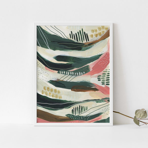 Modern Bold Green and Pink Abstract Tropical Painting Wall Art Print or Canvas - Jetty Home