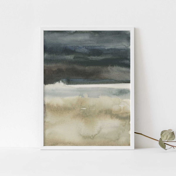 Neutral Lake Landscape Watercolor Painting Wall Art Print or Canvas - Jetty Home