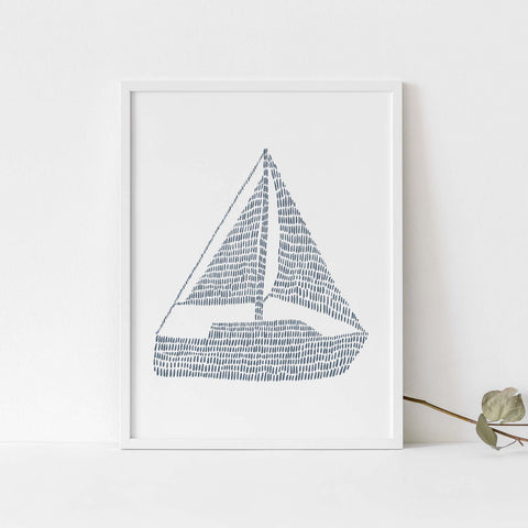 Nautical Sailboat Modern Blue and White Wall Art Print or Canvas - Jetty Home