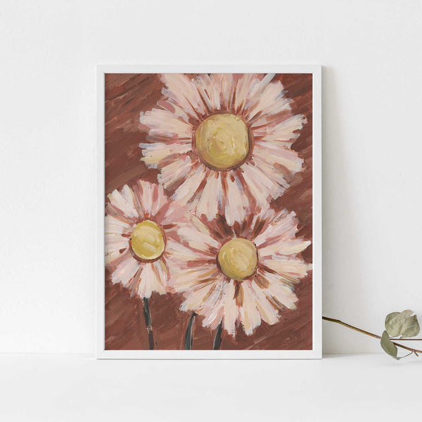 Pink and Rust Daisy Floral Botanical Painting Wall Art Print or Canvas - Jetty Home