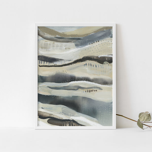 Lake Water Abstract Painting Navy Beige Modern Wall Art Print or Canvas - Jetty Home