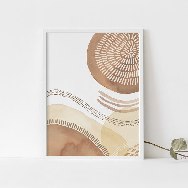 Boho Mid Century Modern Circle Abstract Wall Art Print or Canvas - Jetty Home