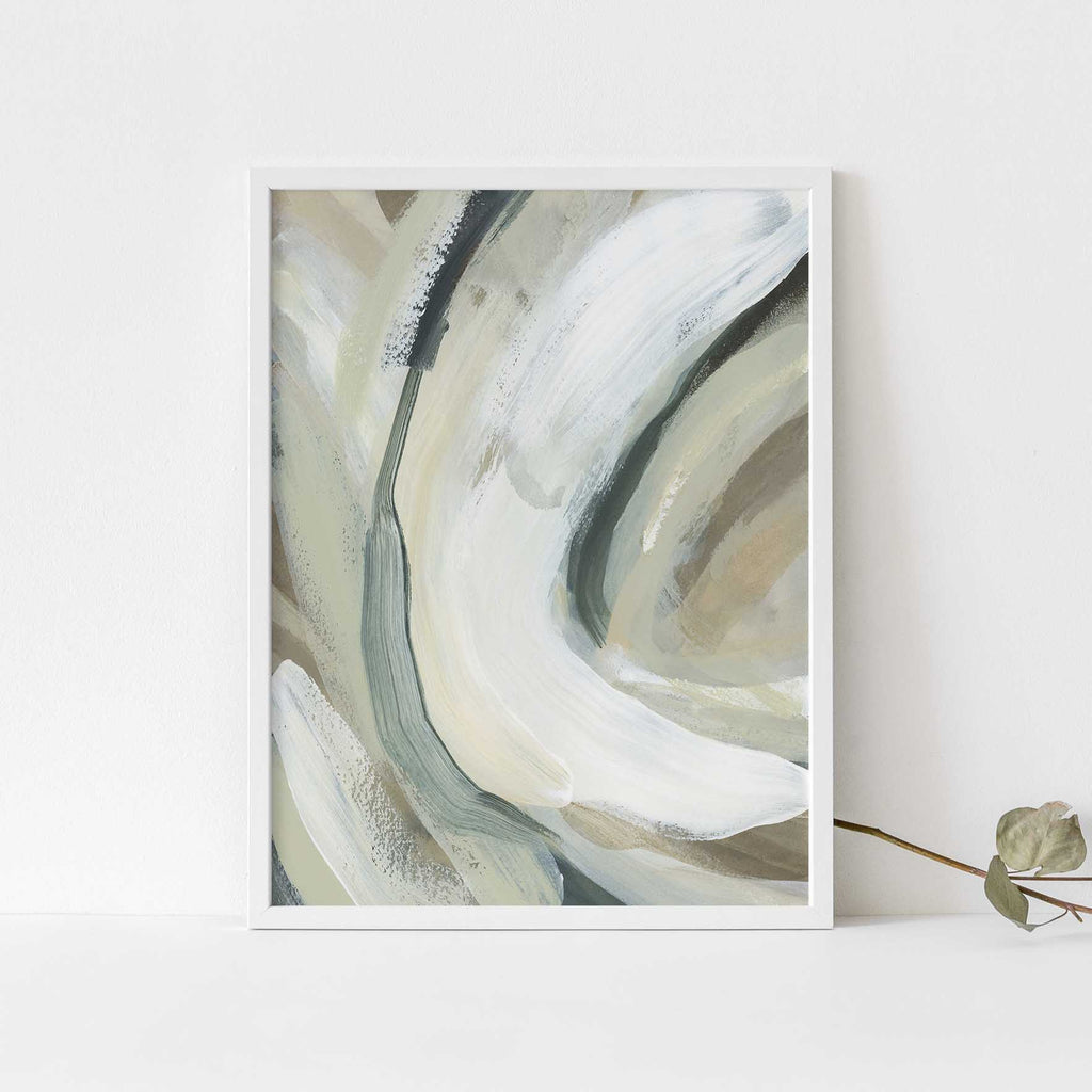 White and Tan Neutral Abstract Flow Painting Wall Art Print or Canvas - Jetty Home