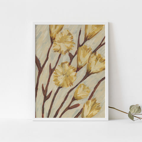 Neutral Yellow Poppy Flower Painting Modern Wall Art Print or Canvas - Jetty Home
