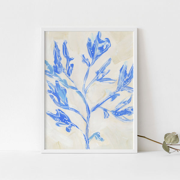 Seaweed Painting Blue and Cream Modern Coastal Wall Art Print or Canvas - Jetty Home