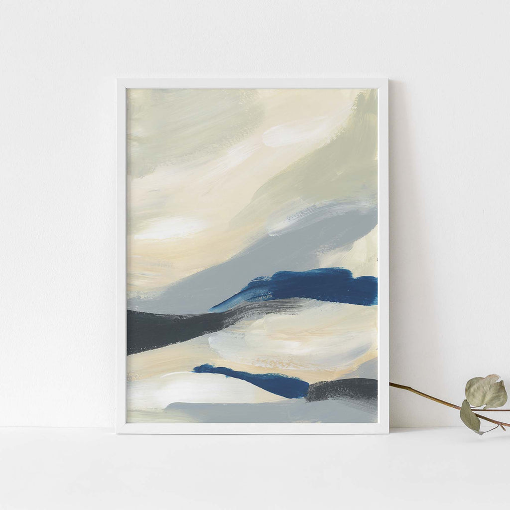 Abstract Nautical Blue and Cream Painting Wall Art Print or Canvas - Jetty Home