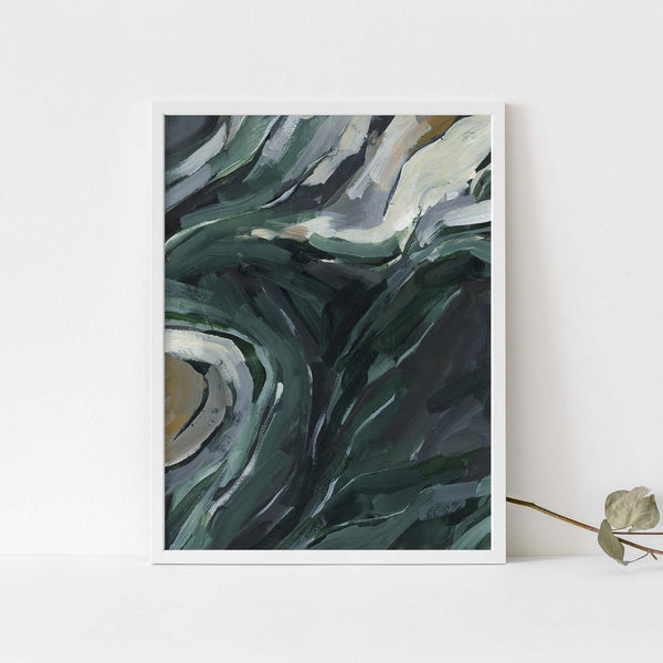 Dark Green Forest Undergrowth Abstract Painting Wall Art Print or Canvas - Jetty Home