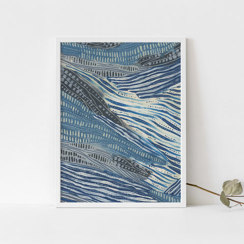 Underwater Abstract Blue and Cream Ocean Painting Wall Art Print or Canvas - Jetty Home