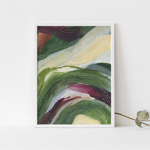Abstract Countryside Flowy Painting Wall Art Print or Canvas - Jetty Home