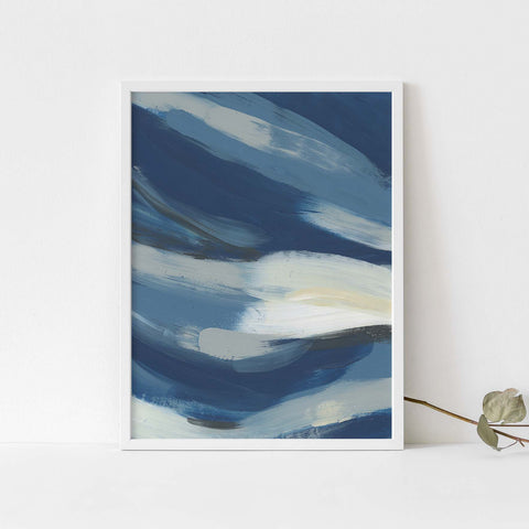 Bold Blue Abstract Ocean Painting Coastal Wall Art Print or Canvas - Jetty Home