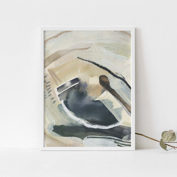 Modern Painting Neutral Lake Inspired Beige Wall Art Print or Canvas - Jetty Home