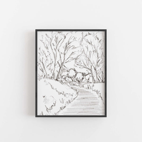 Scenic Landscape Forest Black and White Illustration Wall Art Print or Canvas - Jetty Home