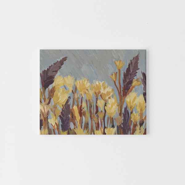 Impressionist Wildflower Painting Blue Wall Art Print or Canvas - Jetty Home