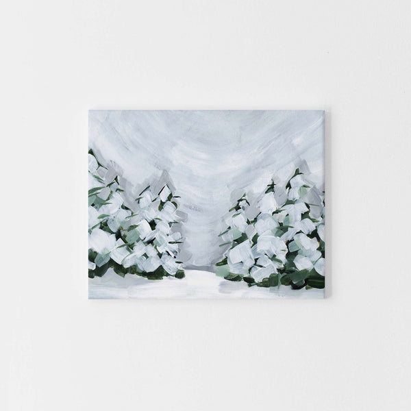 Winter Snowscape Evergreen Pine Tree Painting Wall Art Print or Canvas - Jetty Home