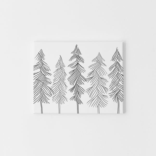 Minimalist Gray and White Pine Trees Forest Wall Art Print or Canvas - Jetty Home