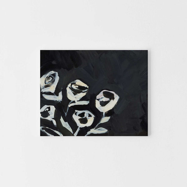 Black and Cream Rose Painting Wall Art Print or Canvas - Jetty Home
