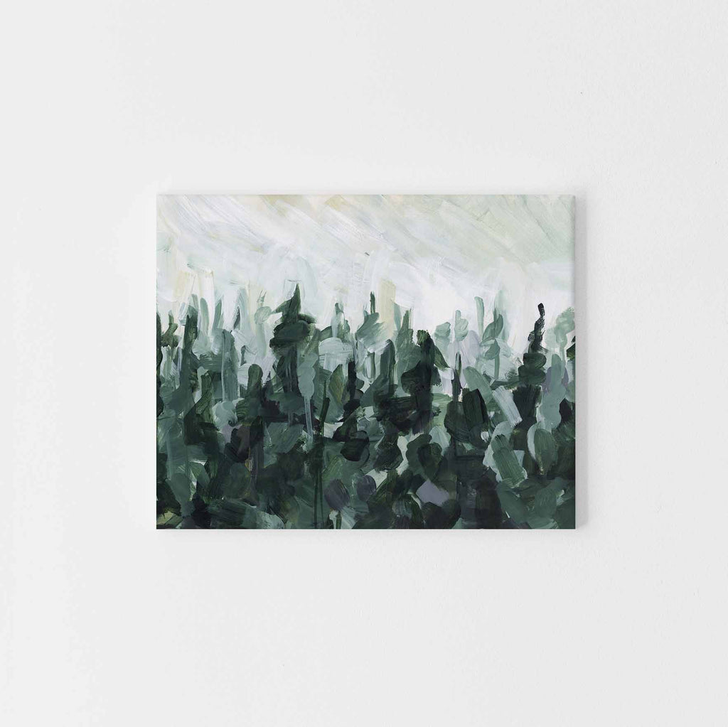 Green and White Modern Pine Tree Line Painting Wall Art Print or Canvas - Jetty Home