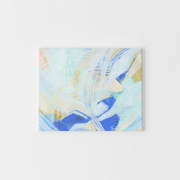 Mint and White Abstract Painting Coastal Ocean Wall Art Print or Canvas - Jetty Home