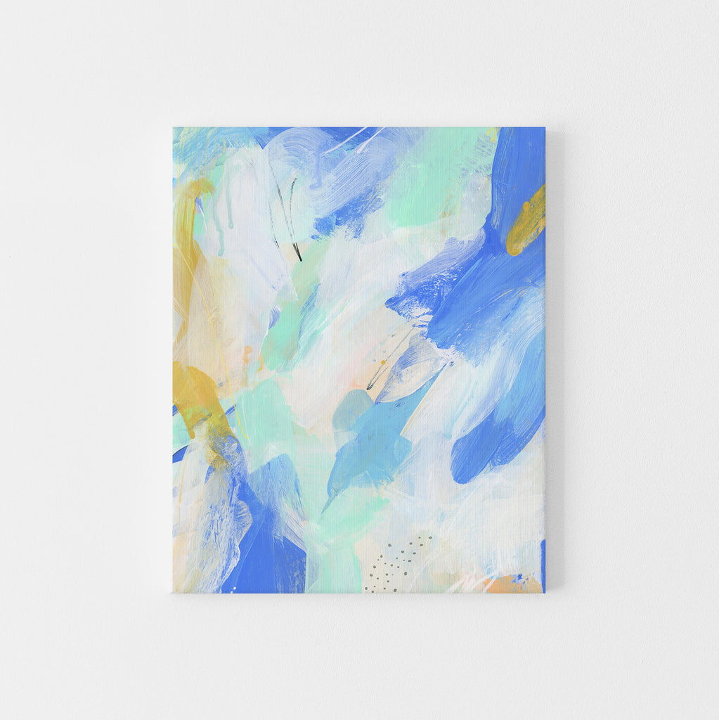Abstract Painting Modern Beach House Blue Mint White Wall Art Print or Canvas - Jetty Home