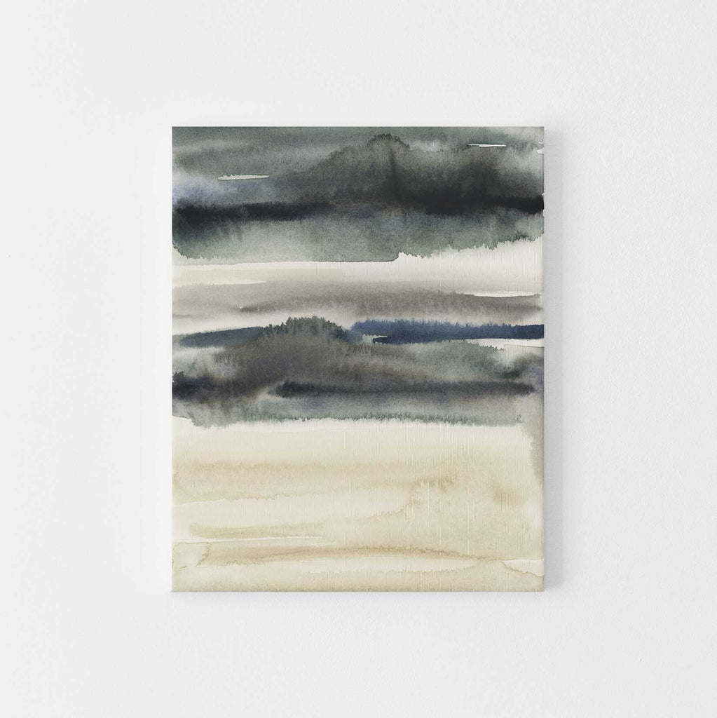 Stormy Lake Landscape Watercolor Abstract Wall Art Print or Canvas - Jetty Home