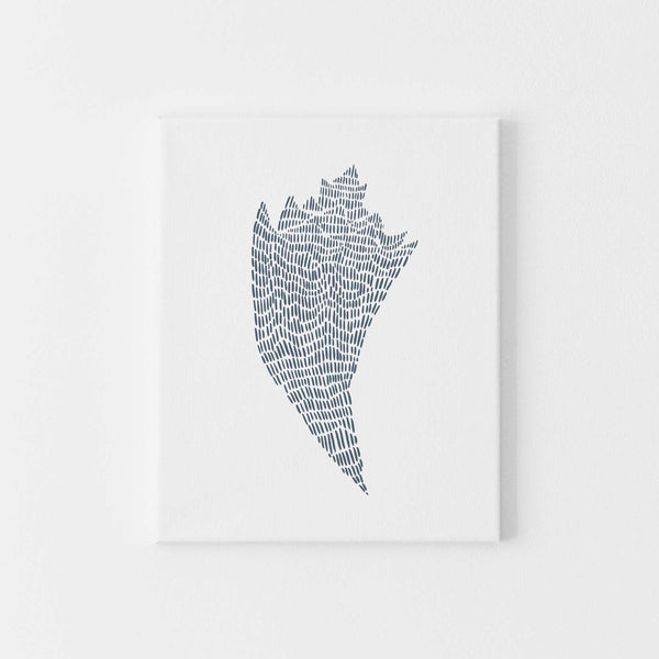 Blue Conch Seashell Coastal Decor Beach Wall Art Print or Canvas - Jetty Home