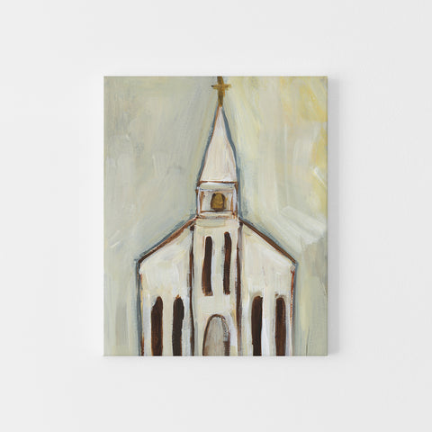 Church Painting Neutral Cream Christmas Rustic Wall Art Print or Canvas - Jetty Home