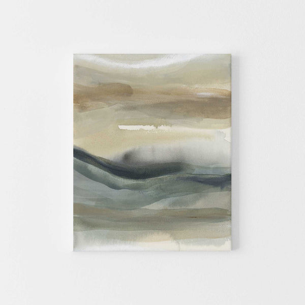 Abstract Coastal Landscape Neutral Painting Wall Art Print or Canvas - Jetty Home
