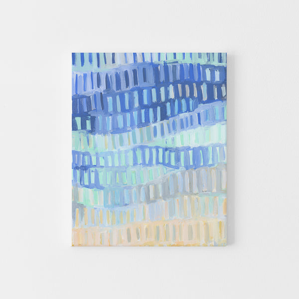 Bright Turquoise and Blue Coastal Abstract Painting Wall Art Print or Canvas - Jetty Home