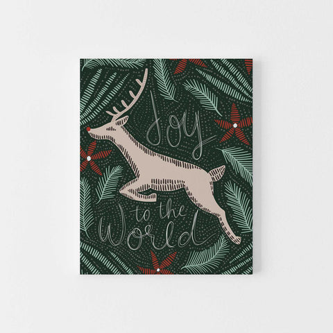 Joy to the World Deer Red and Green Christmas Wall Art Print or Canvas - Jetty Home