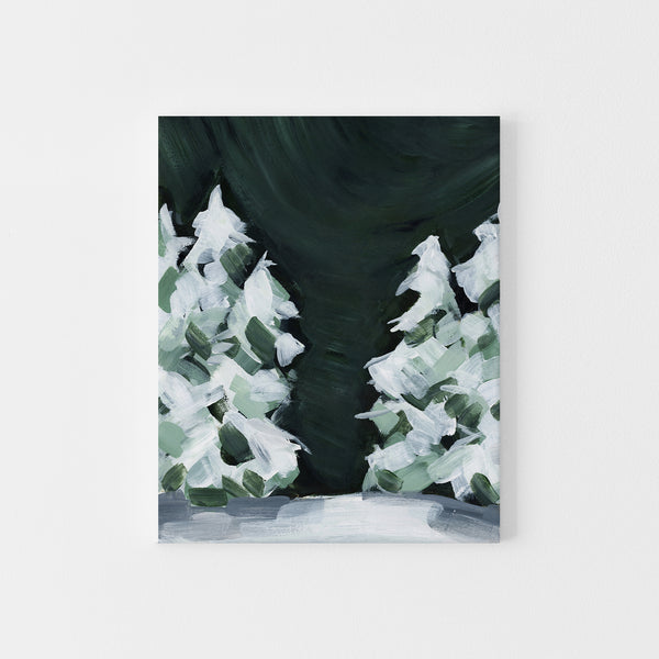 Winter Snow Covered Pine Tree Dark Green and White Painting Wall Art Print or Canvas - Jetty Home