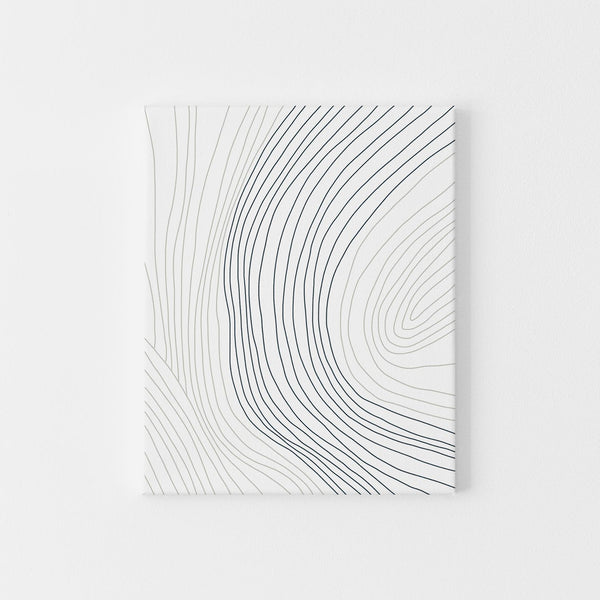 Minimalist Contour Illustration Gray, Blue and White Wall Art Print or Canvas - Jetty Home