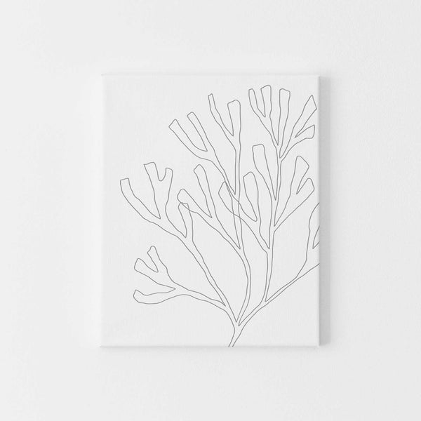 Modern Gray Seaweed Beach Decor Wall Art Print or Canvas - Jetty Home