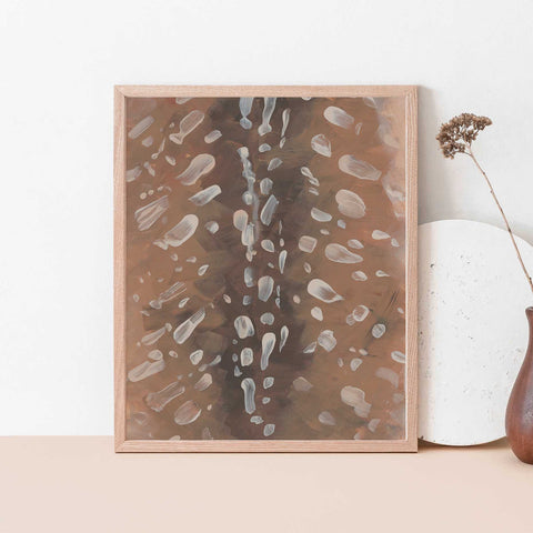 Deer Skin Fur Pattern Brown Modern Abstract Woodland Painting Wall Art Print or Canvas - Jetty Home