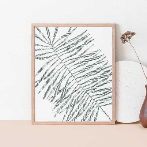 Palm Frond Leaf Modern Minimalist Tropical Green Wall Art Print or Canvas - Jetty Home