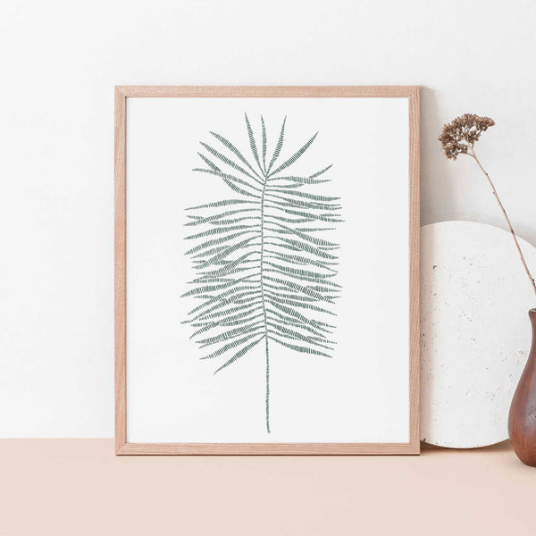 Modern Palm Frond Leaf Tropical Botanical Wall Art Print or Canvas - Jetty Home