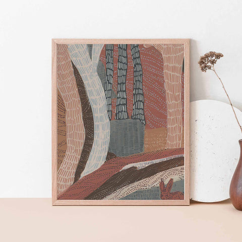 Forest Bohemian Patterned Abstract Warm Tones Wall Art Print or Canvas - Jetty Home