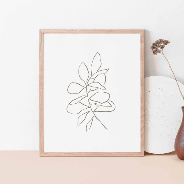 Eucalyptus Silver Dollar Modern Line Drawing Wall Art Print or Canvas - Jetty Home