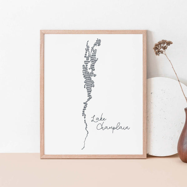 Lake Champlain Modern Map Illustration Wall Art Print or Canvas - Jetty Home