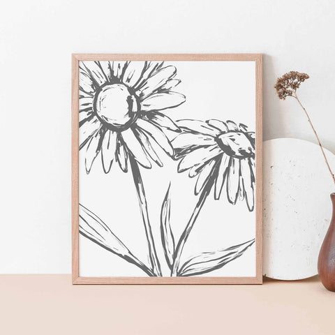 Daisy Modern Minimalist Farmhouse Country Wall Art Print or Canvas - Jetty Home