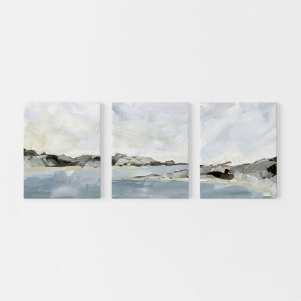 Bay Moody Landscape Ocean Triptych Set of Three Wall Art Prints or Canvas - Jetty Home