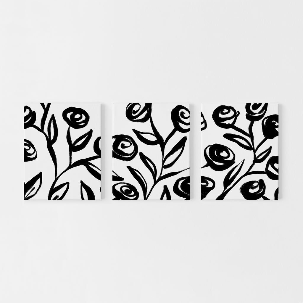 Botanical Black and White Rose Bold Illustration Triptych Set of Three Wall Art Prints or Canvas - Jetty Home