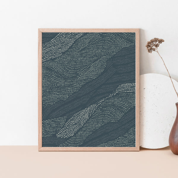 Blue Lake Water Abstract Drawing Wall Art Print or Canvas - Jetty Home