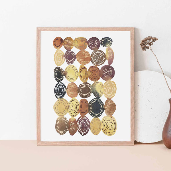 Modern Shape Circle Watercolor Painting Wall Art Print or Canvas - Jetty Home